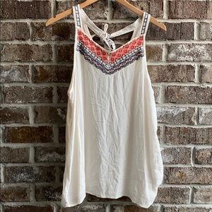 NWT Maurices Boho Neck Tie Embroidered Tank Top